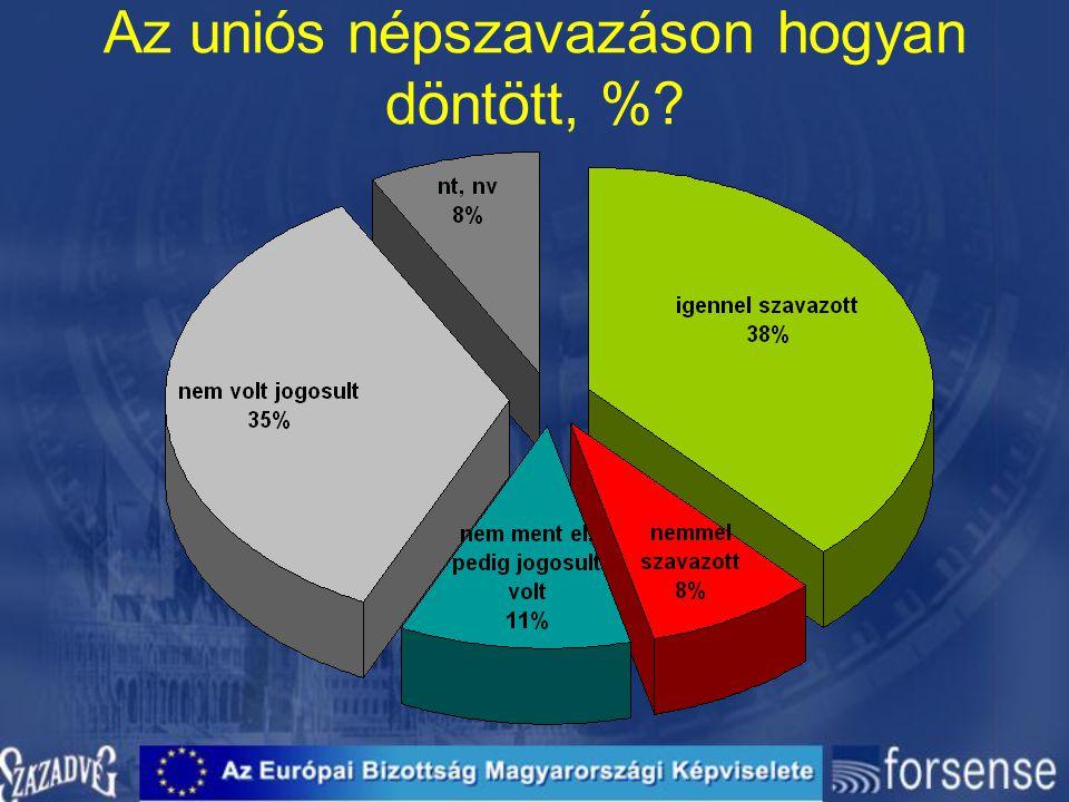 Az uniós népszavazáson hogyan döntött, %