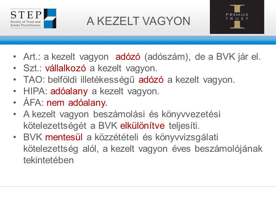 A KEZELT VAGYON Art.: a kezelt vagyon adózó (adószám), de a BVK jár el. Szt.: vállalkozó a kezelt vagyon.