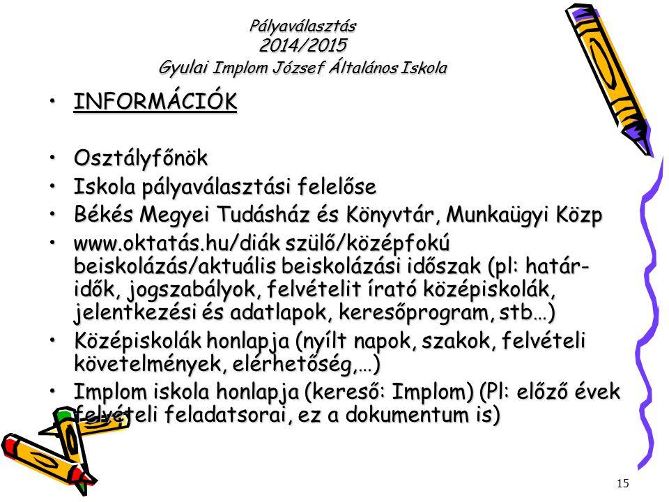 Pályaválasztás 2014/2015 Gyulai Implom József Általános Iskola