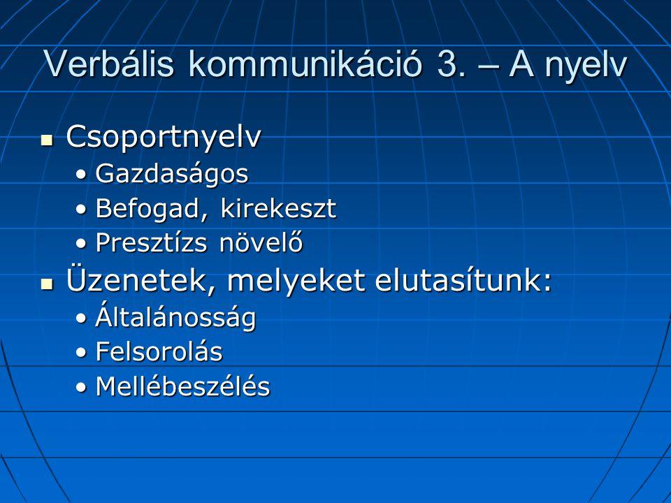 Verbális kommunikáció 3. – A nyelv