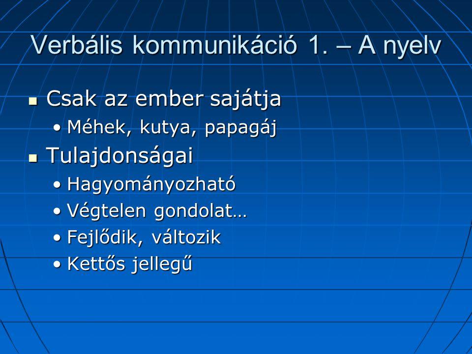 Verbális kommunikáció 1. – A nyelv