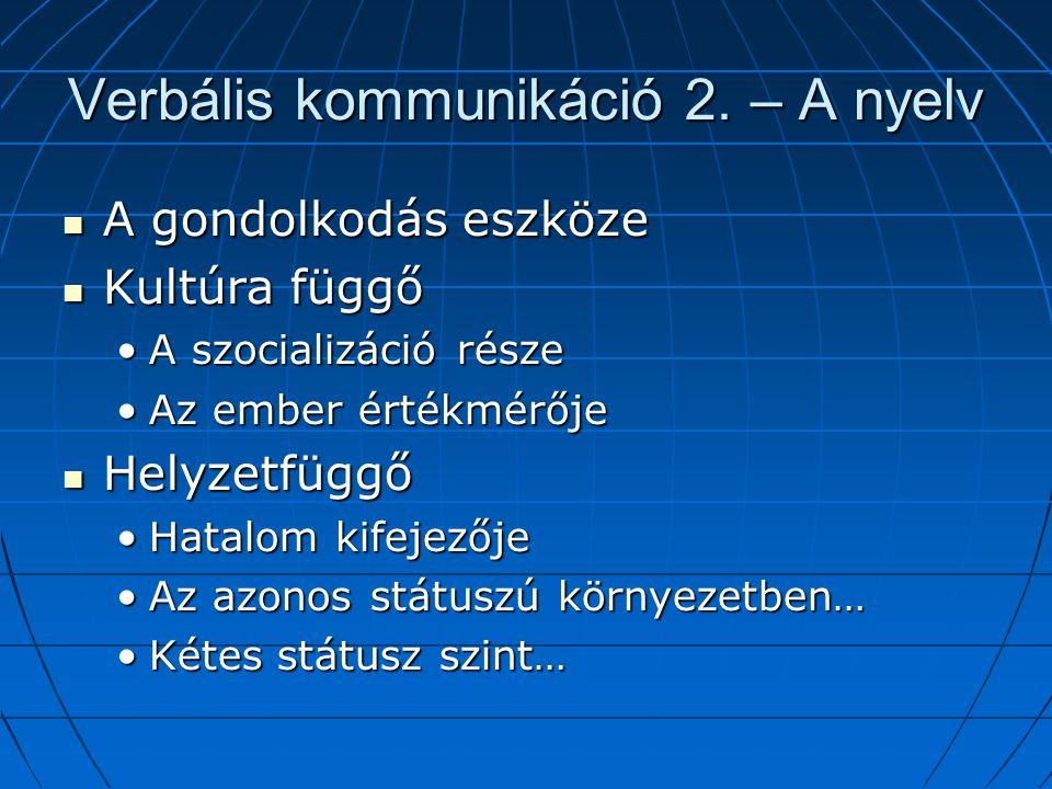 Verbális kommunikáció 2. – A nyelv