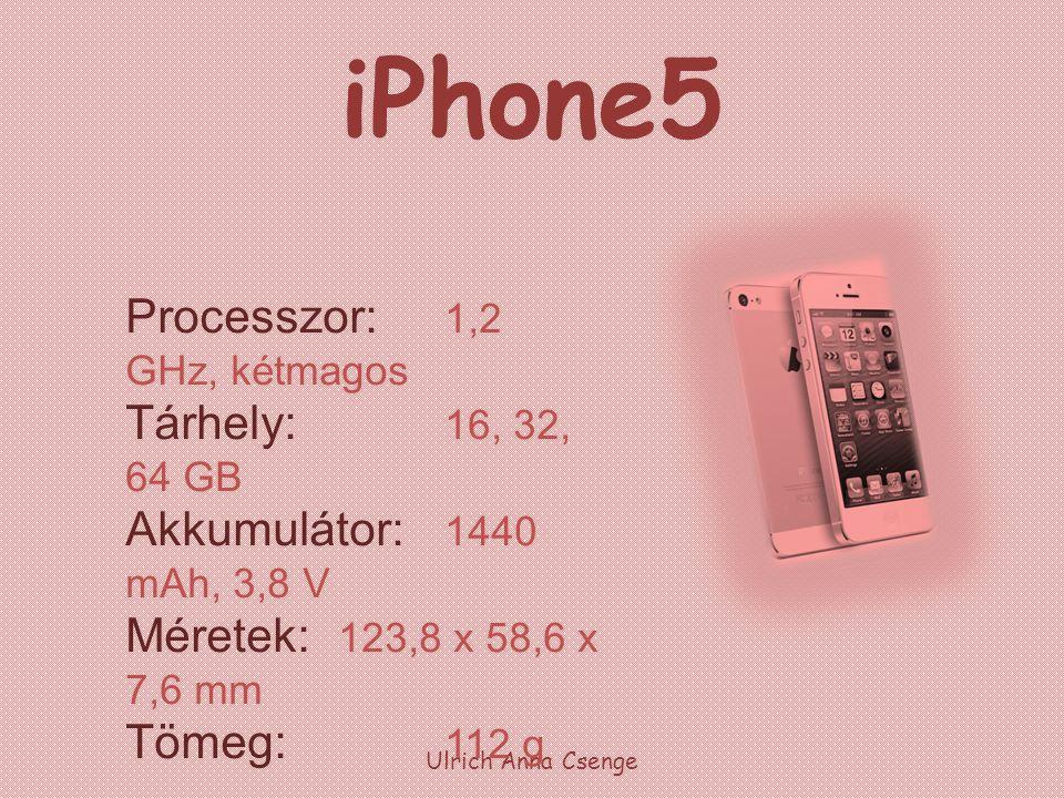 iPhone5 Processzor: 1,2 GHz, kétmagos Tárhely: 16, 32, 64 GB