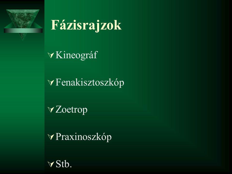 Fázisrajzok Kineográf Fenakisztoszkóp Zoetrop Praxinoszkóp Stb.
