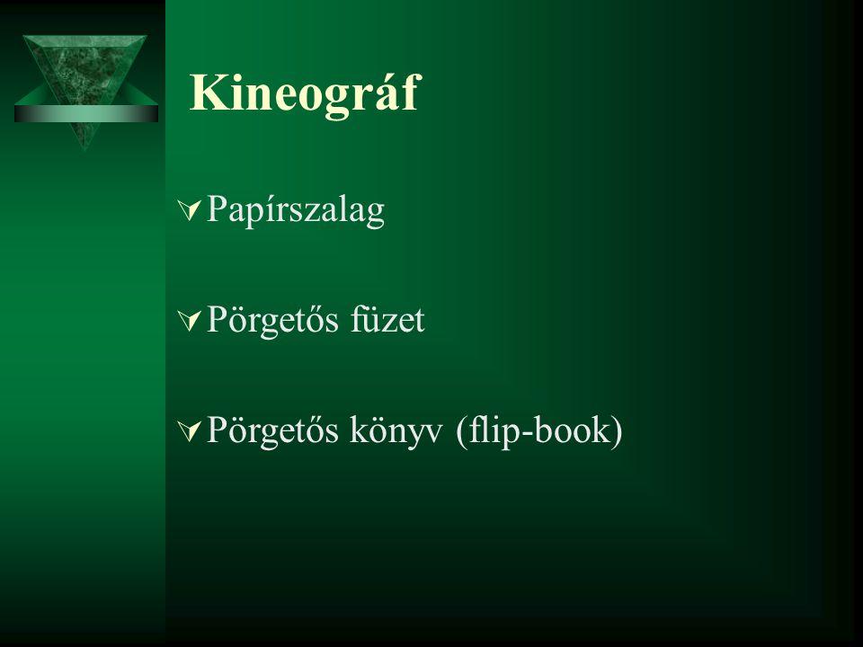 Kineográf Papírszalag Pörgetős füzet Pörgetős könyv (flip-book)