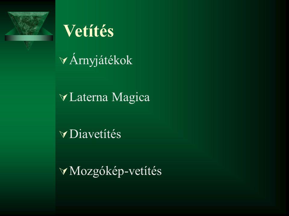 Vetítés Árnyjátékok Laterna Magica Diavetítés Mozgókép-vetítés
