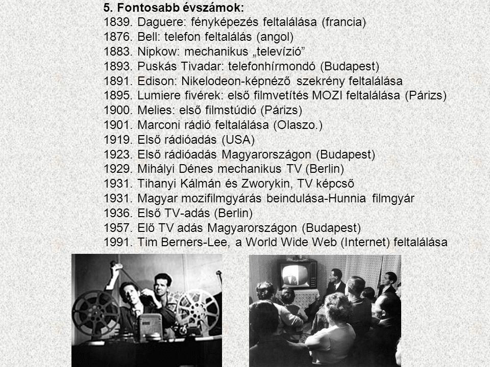5. Fontosabb évszámok: 1839. Daguere: fényképezés feltalálása (francia) 1876. Bell: telefon feltalálás (angol)