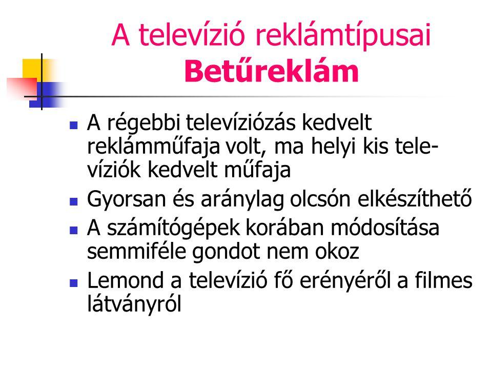 A televízió reklámtípusai Betűreklám