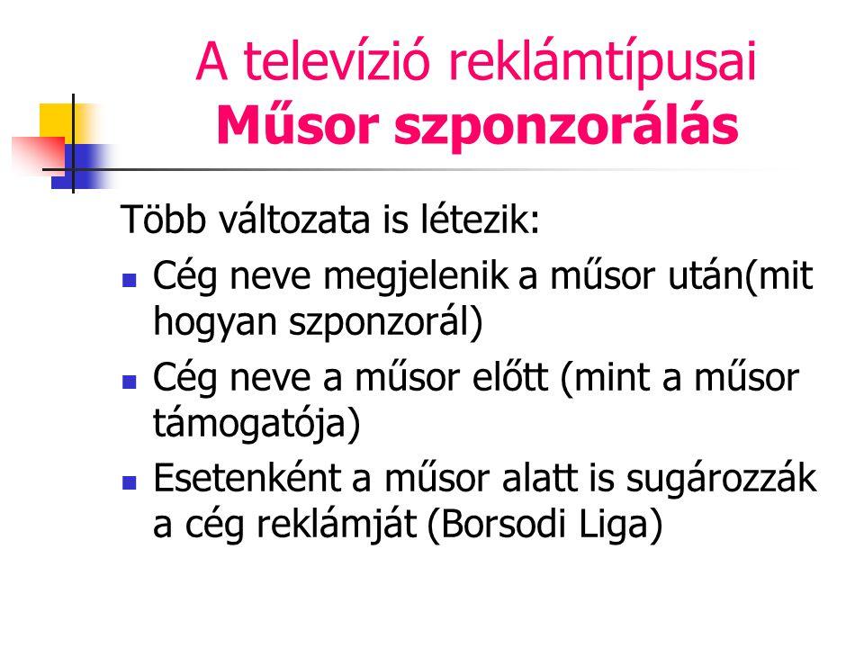 A televízió reklámtípusai Műsor szponzorálás