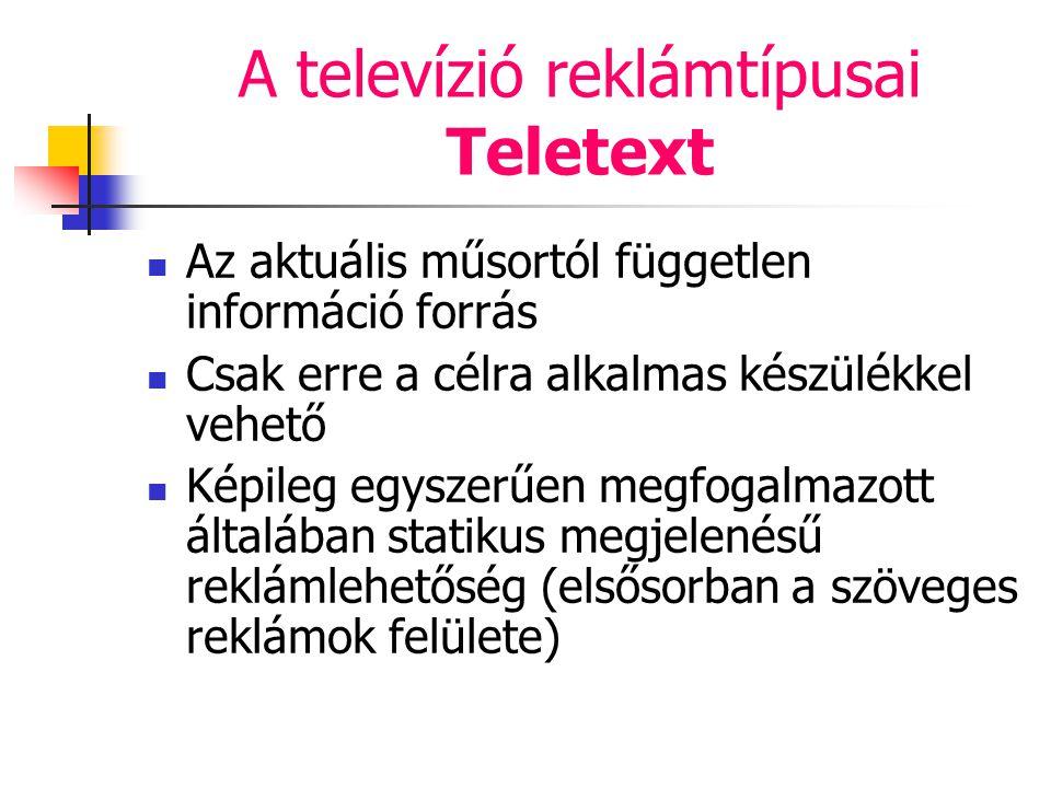 A televízió reklámtípusai Teletext