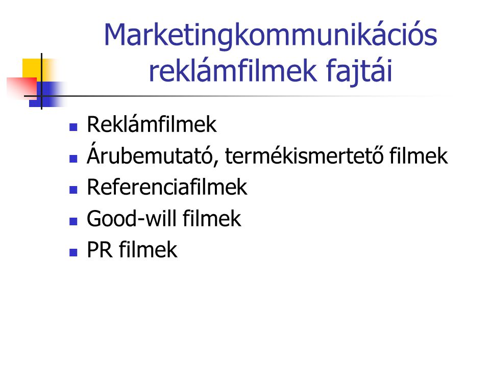 Marketingkommunikációs reklámfilmek fajtái