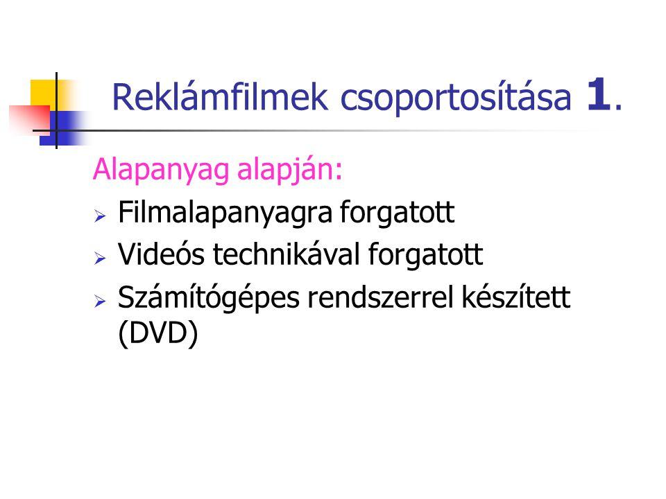 Reklámfilmek csoportosítása 1.