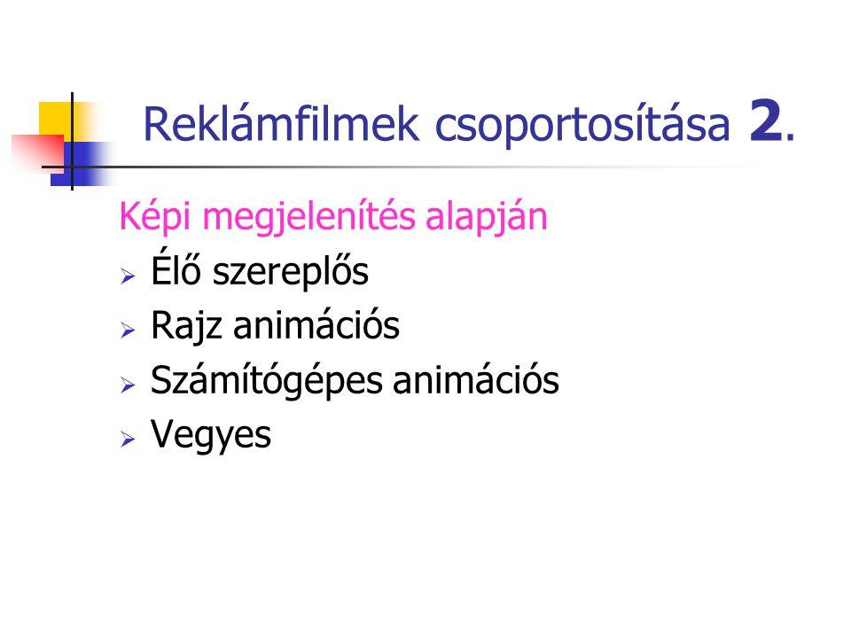 Reklámfilmek csoportosítása 2.