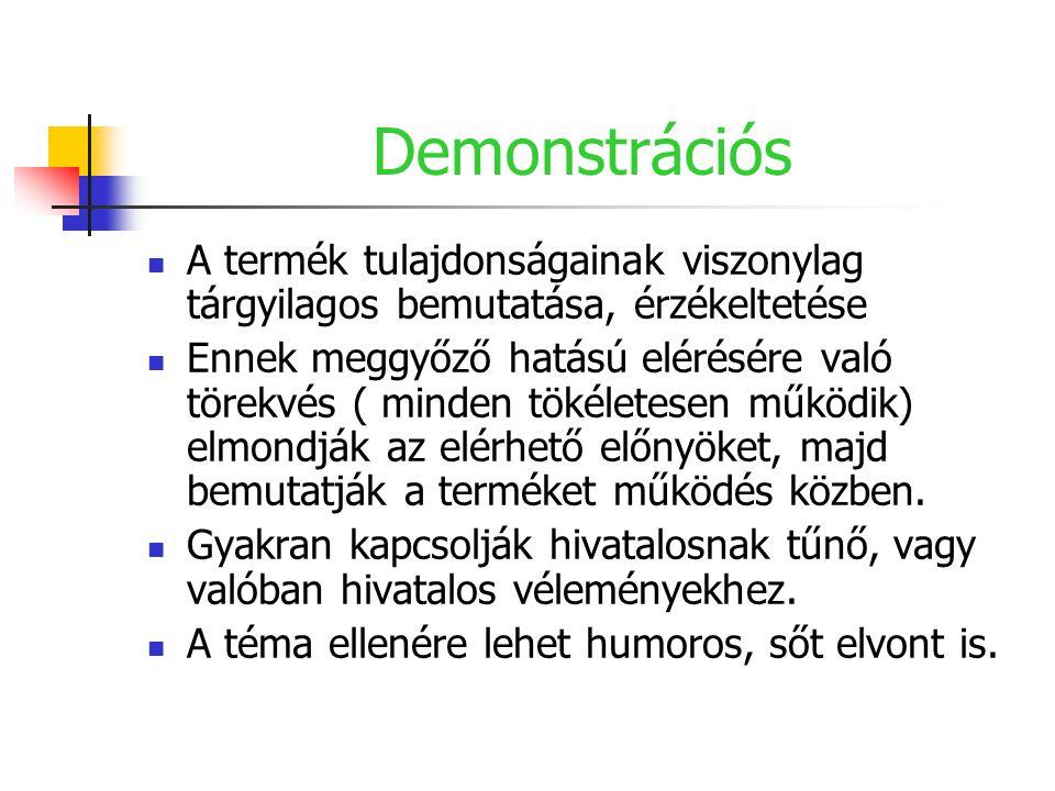 Demonstrációs A termék tulajdonságainak viszonylag tárgyilagos bemutatása, érzékeltetése.