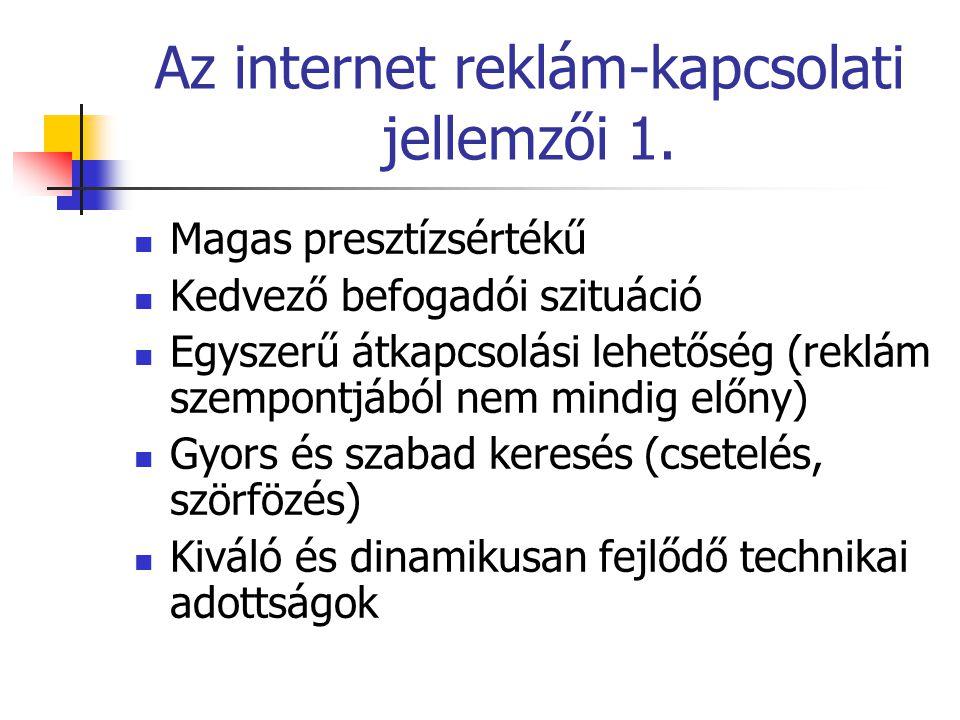 Az internet reklám-kapcsolati jellemzői 1.