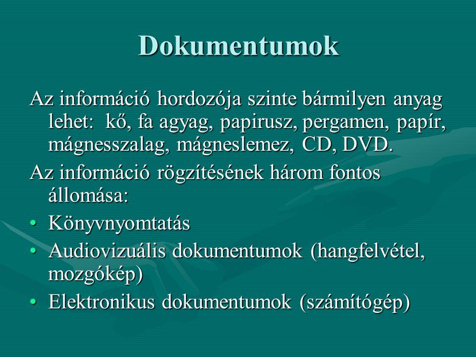 Dokumentumok Az információ hordozója szinte bármilyen anyag lehet: kő, fa agyag, papirusz, pergamen, papír, mágnesszalag, mágneslemez, CD, DVD.
