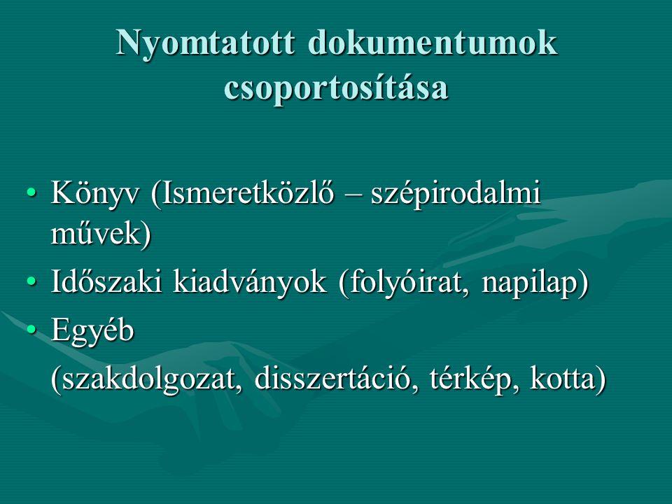 Nyomtatott dokumentumok csoportosítása