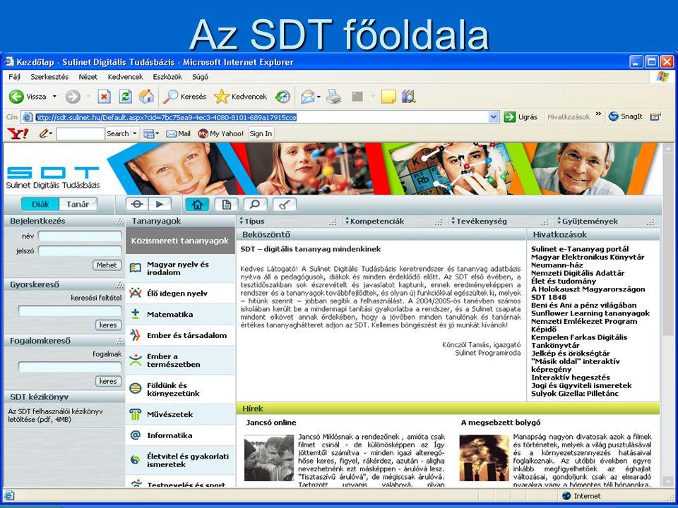 Az SDT főoldala