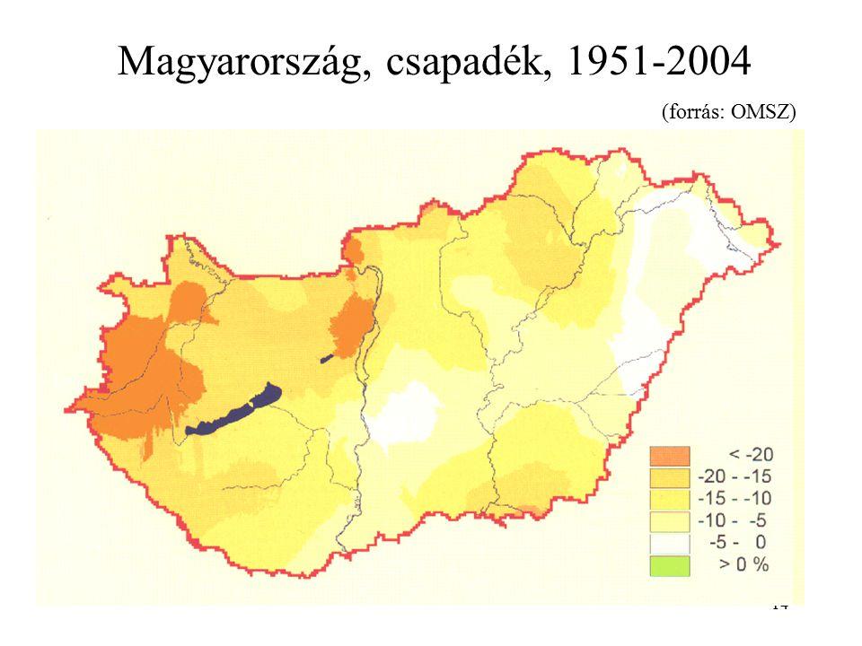 Magyarország, csapadék, 1951-2004