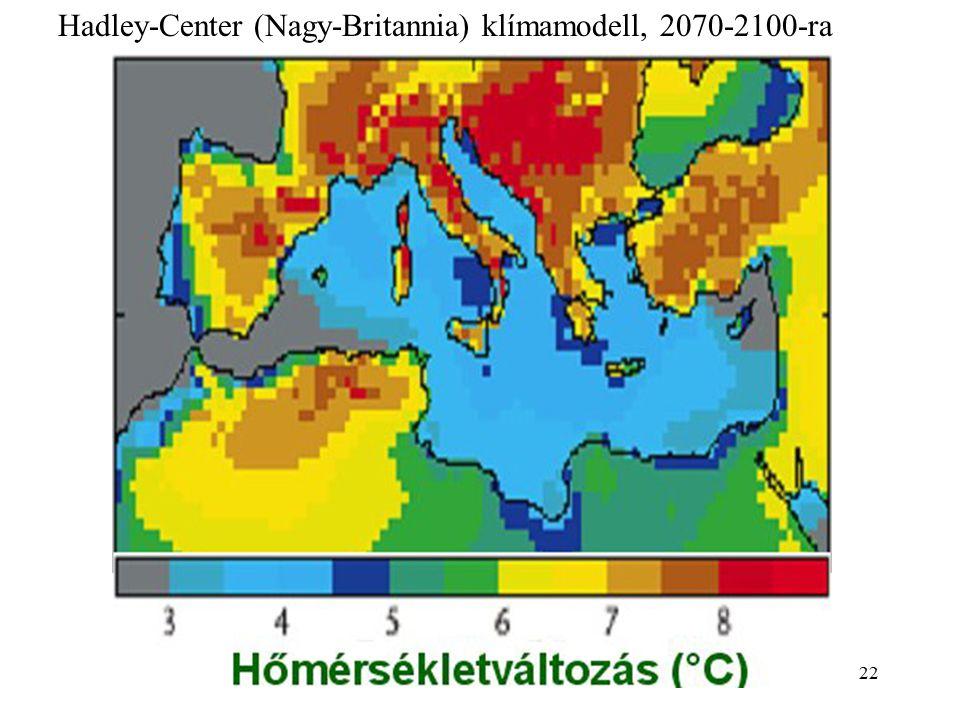Hadley-Center (Nagy-Britannia) klímamodell, 2070-2100-ra