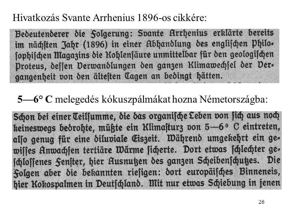 Hivatkozás Svante Arrhenius 1896-os cikkére: