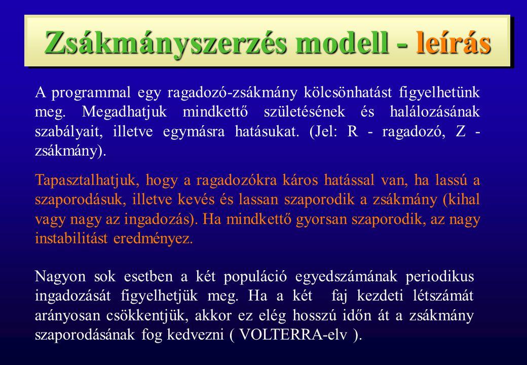 Zsákmányszerzés modell - leírás