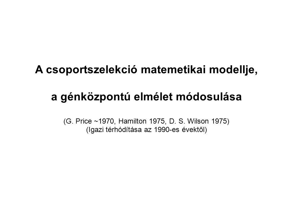 A csoportszelekció matemetikai modellje,