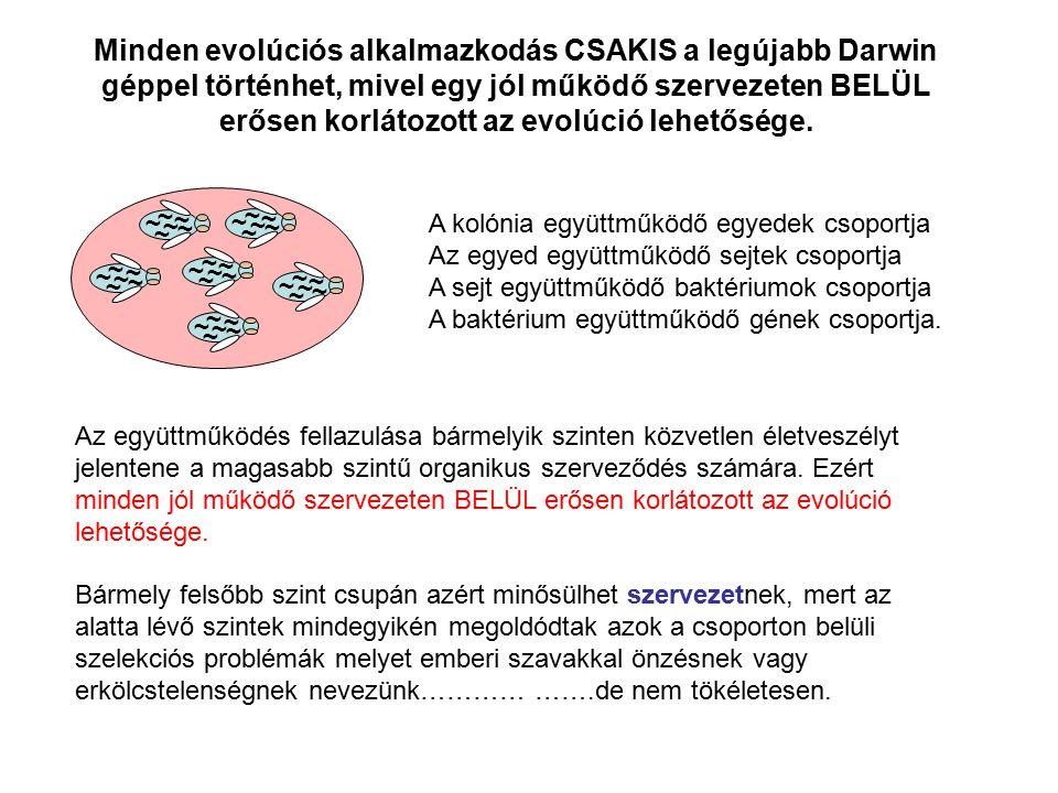 Minden evolúciós alkalmazkodás CSAKIS a legújabb Darwin géppel történhet, mivel egy jól működő szervezeten BELÜL erősen korlátozott az evolúció lehetősége.