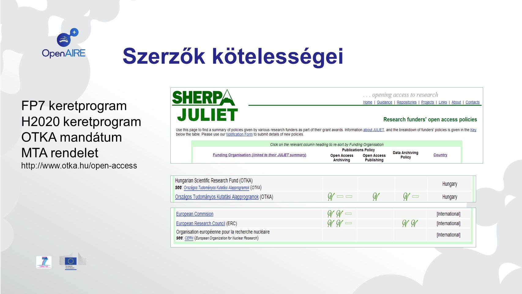 Szerzők kötelességei Kötelességek FP7 keretprogram H2020 keretprogram