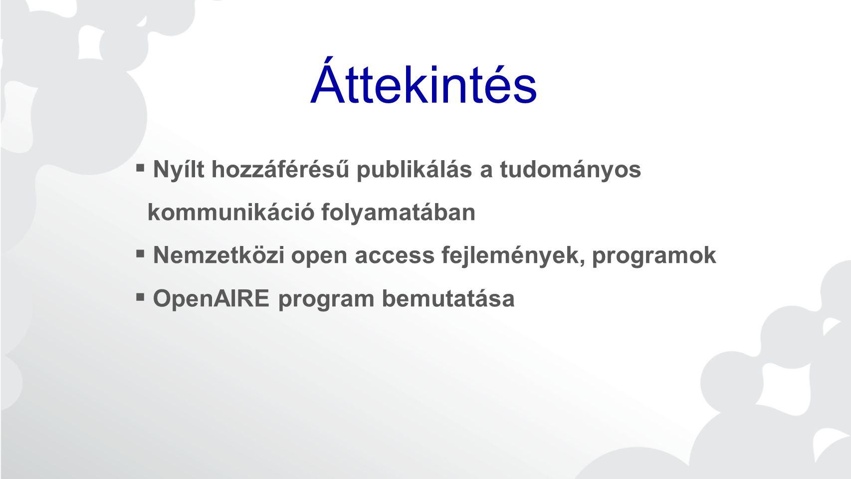 Áttekintés Nyílt hozzáférésű publikálás a tudományos kommunikáció folyamatában. Nemzetközi open access fejlemények, programok.