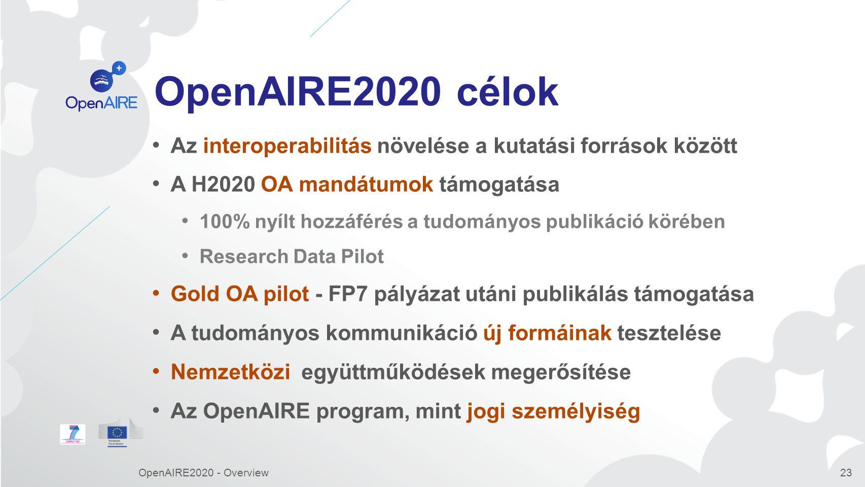 OpenAIRE2020 célok Az interoperabilitás növelése a kutatási források között. A H2020 OA mandátumok támogatása.