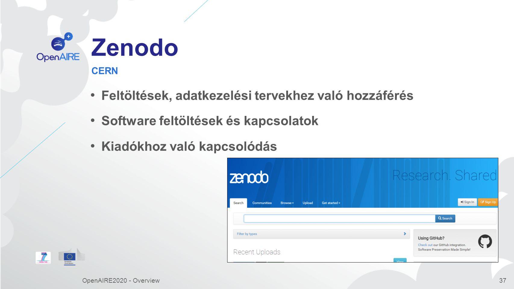 Zenodo Feltöltések, adatkezelési tervekhez való hozzáférés