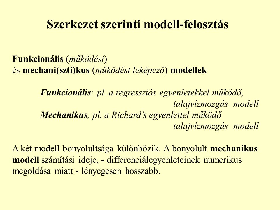 Szerkezet szerinti modell-felosztás