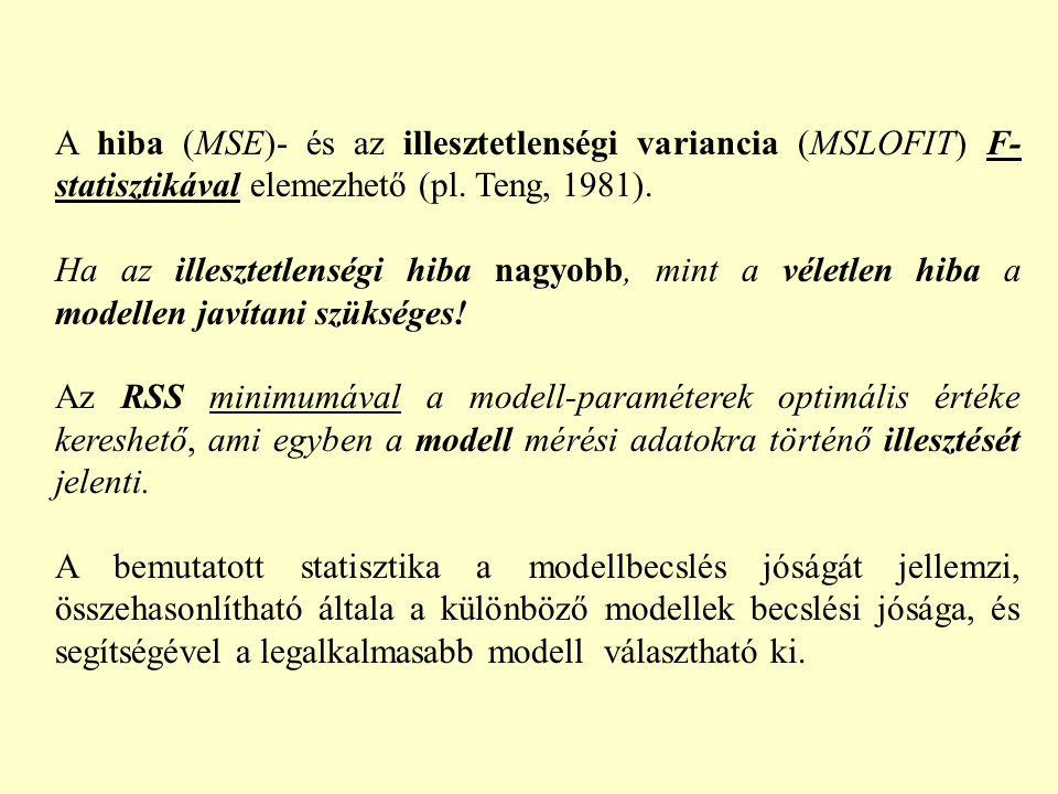 A hiba (MSE)- és az illesztetlenségi variancia (MSLOFIT) F-statisztikával elemezhető (pl. Teng, 1981).