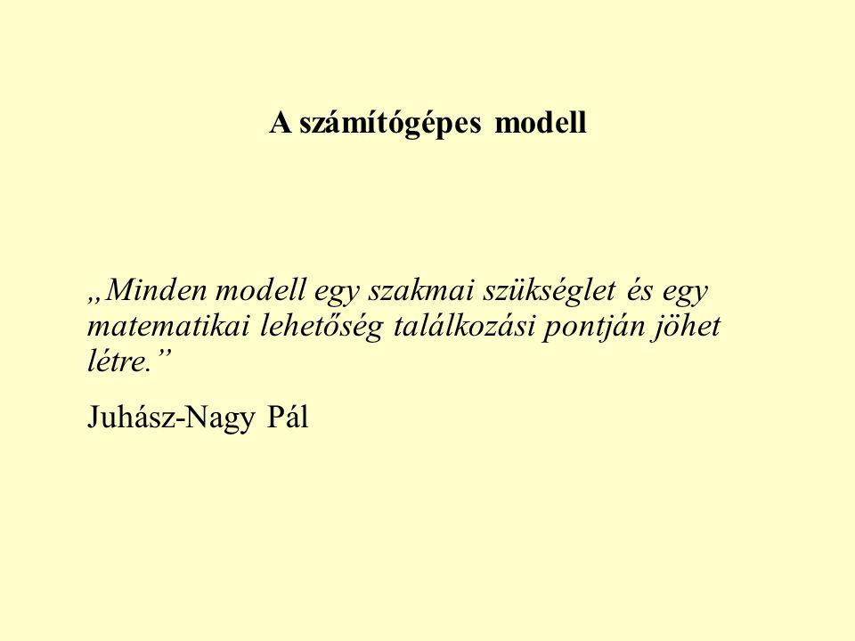 """A számítógépes modell """"Minden modell egy szakmai szükséglet és egy matematikai lehetőség találkozási pontján jöhet létre."""