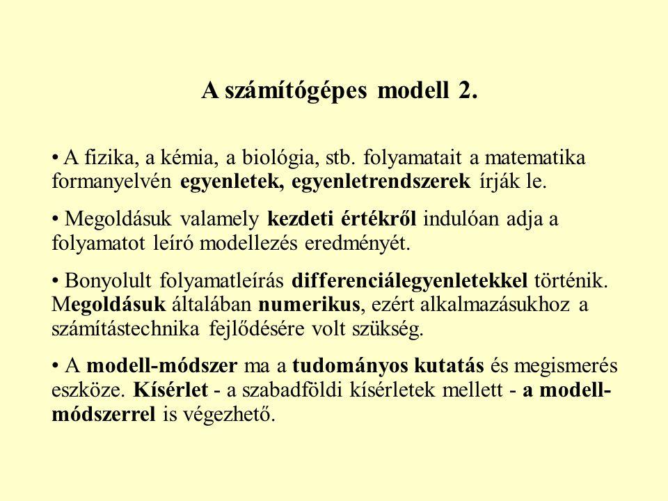 A számítógépes modell 2. A fizika, a kémia, a biológia, stb. folyamatait a matematika formanyelvén egyenletek, egyenletrendszerek írják le.
