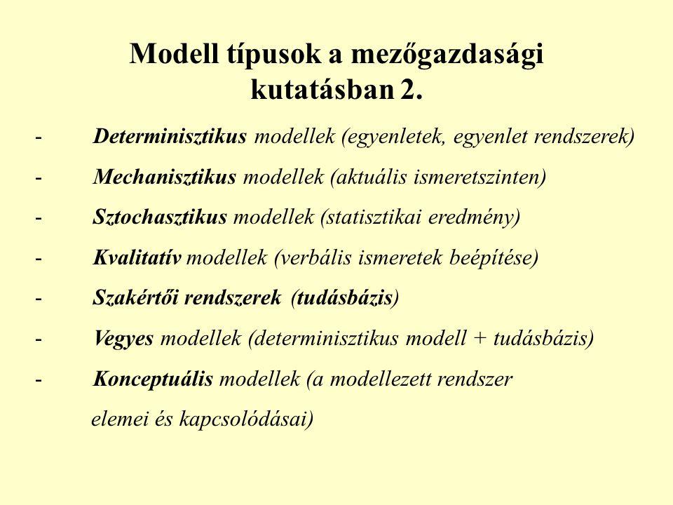 Modell típusok a mezőgazdasági kutatásban 2.