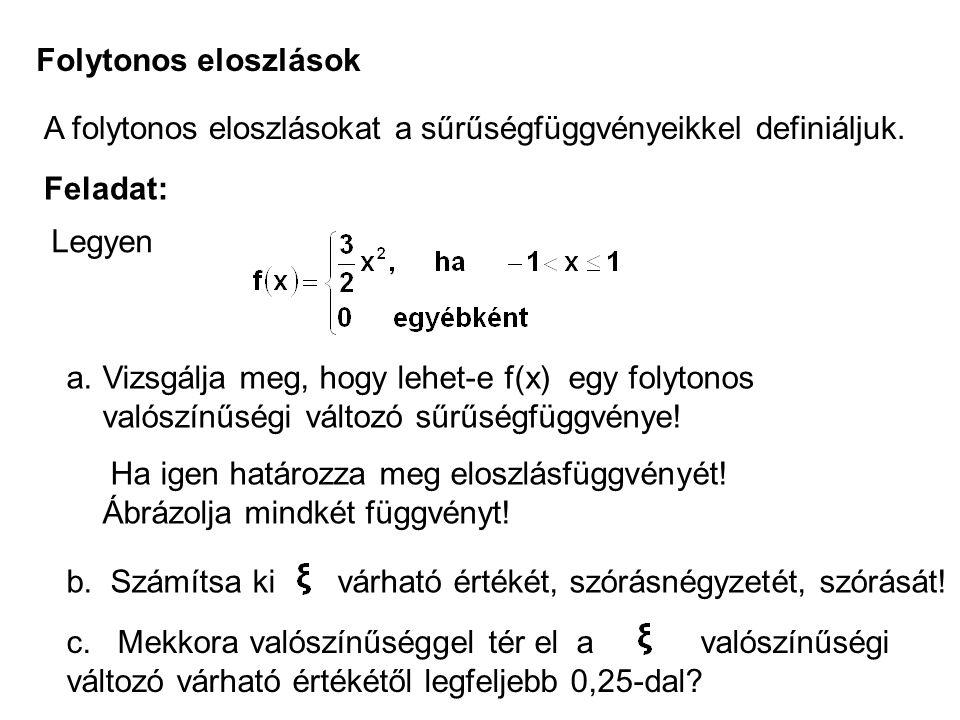 Folytonos eloszlások A folytonos eloszlásokat a sűrűségfüggvényeikkel definiáljuk. Feladat: Legyen.