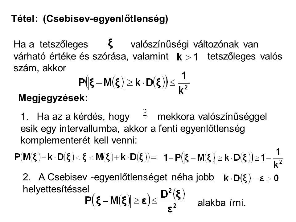Tétel: (Csebisev-egyenlőtlenség)