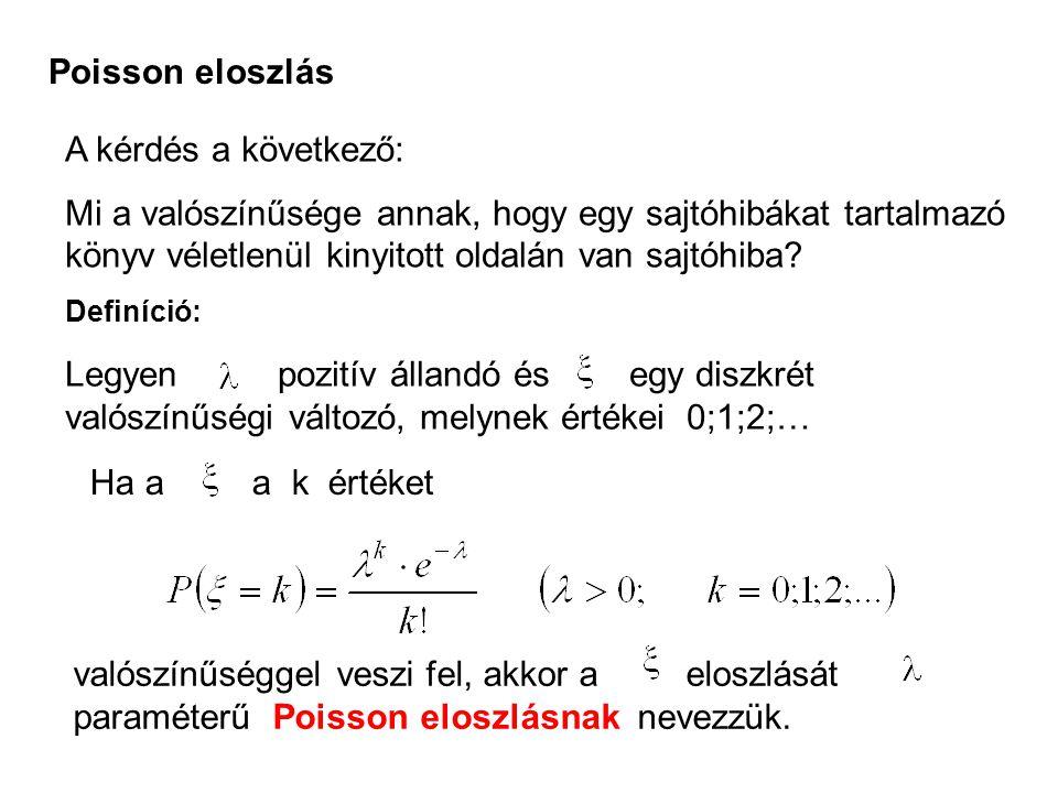 Poisson eloszlás A kérdés a következő: