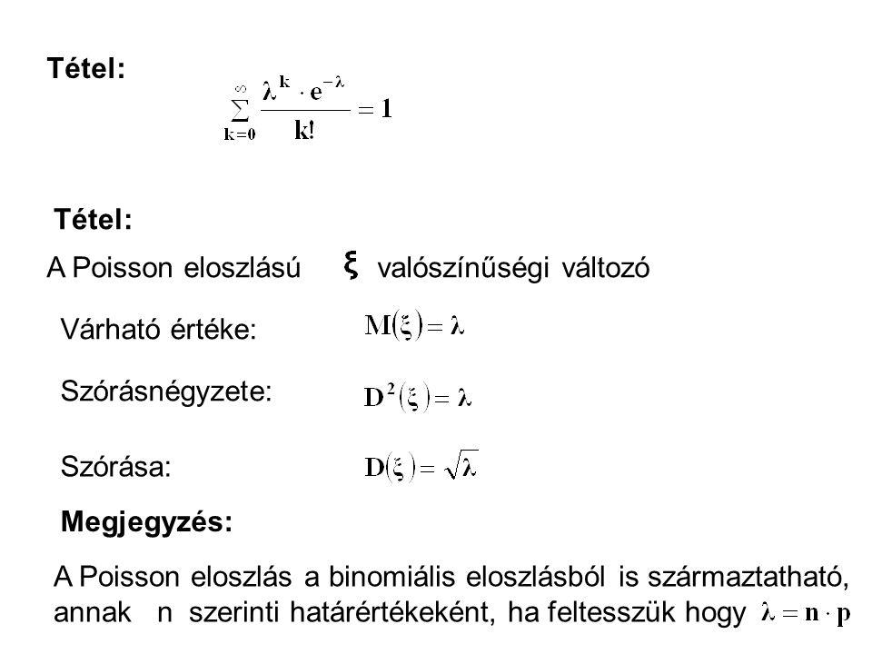 Tétel: Tétel: A Poisson eloszlású valószínűségi változó. Várható értéke: Szórásnégyzete: