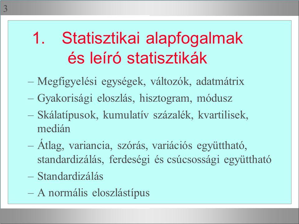 1. Statisztikai alapfogalmak és leíró statisztikák