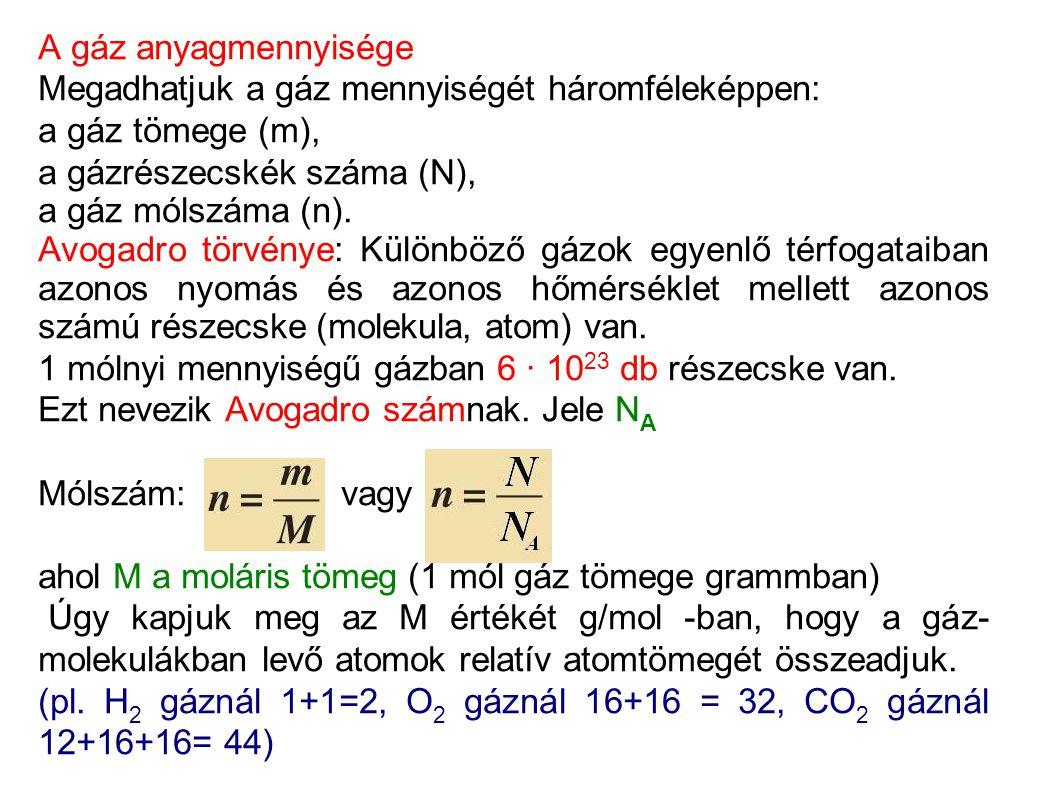 A gáz anyagmennyisége Megadhatjuk a gáz mennyiségét háromféleképpen: a gáz tömege (m), a gázrészecskék száma (N),