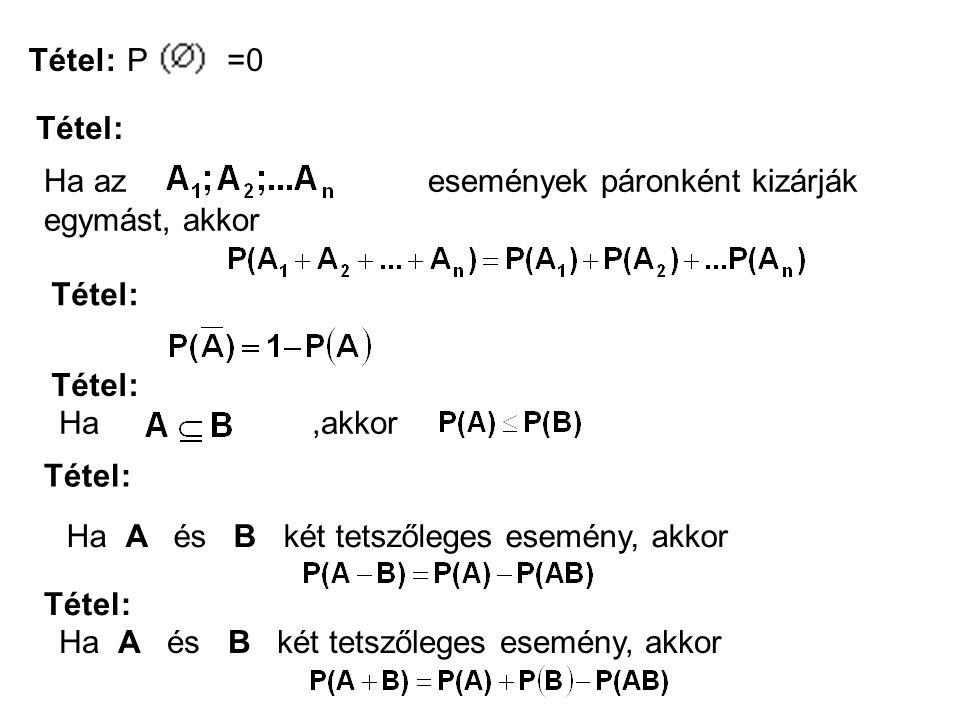 Tétel: P =0. Tétel: Ha az események páronként kizárják egymást, akkor.