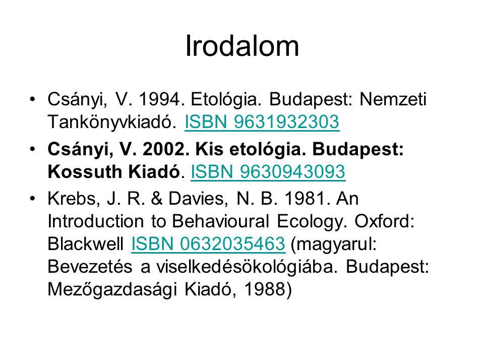 Irodalom Csányi, V. 1994. Etológia. Budapest: Nemzeti Tankönyvkiadó. ISBN 9631932303.