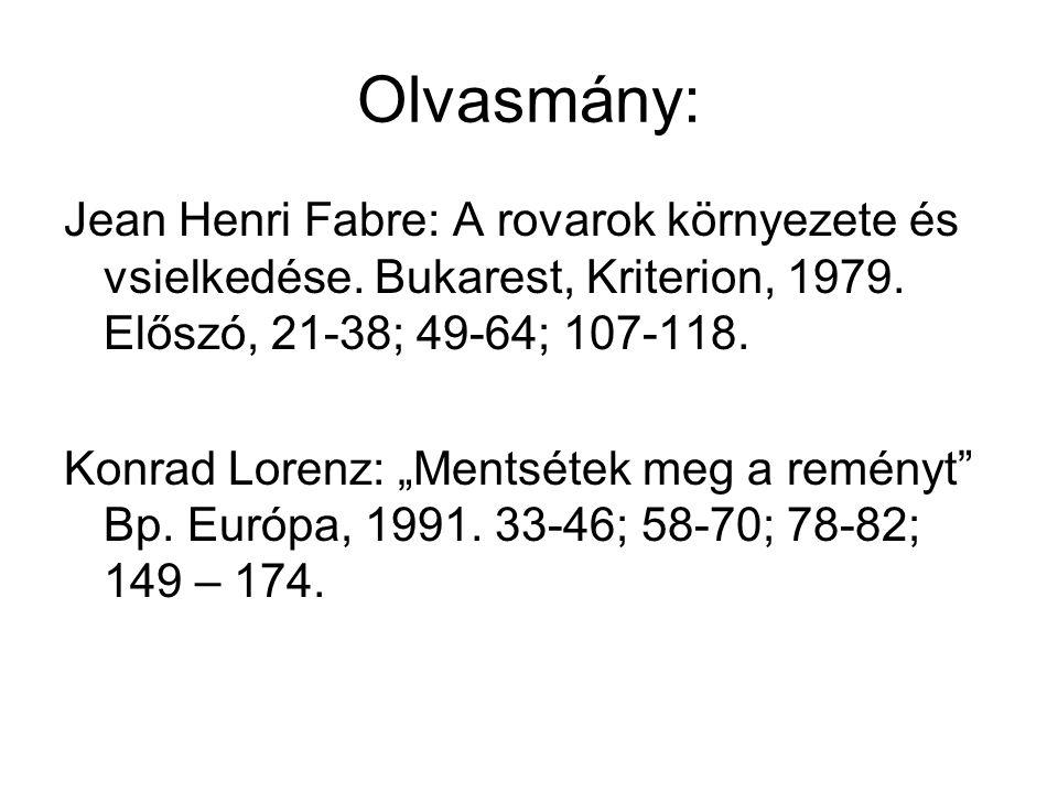 Olvasmány: Jean Henri Fabre: A rovarok környezete és vsielkedése. Bukarest, Kriterion, 1979. Előszó, 21-38; 49-64; 107-118.