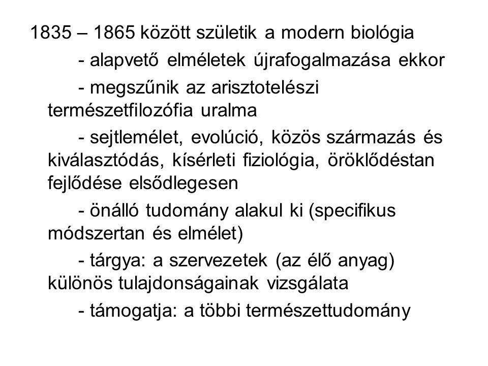 1835 – 1865 között születik a modern biológia