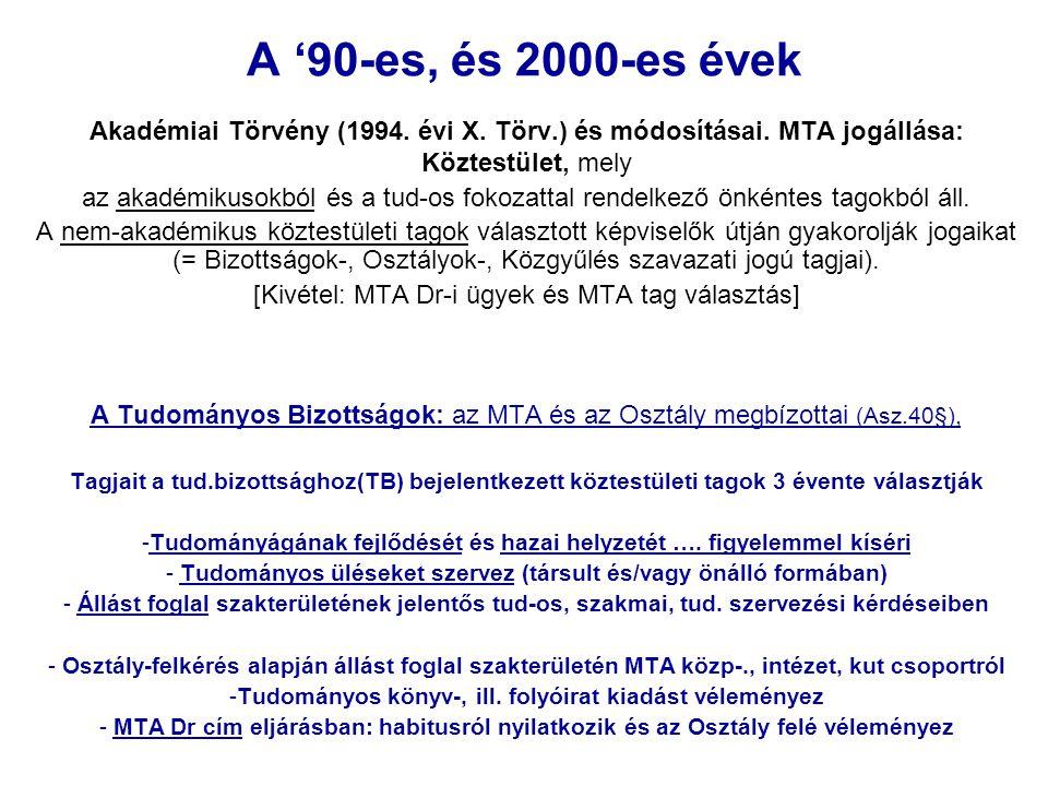 A '90-es, és 2000-es évek Akadémiai Törvény (1994. évi X. Törv.) és módosításai. MTA jogállása: Köztestület, mely.