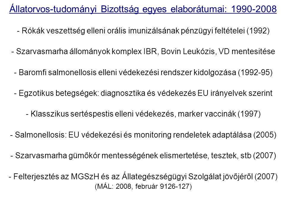 Állatorvos-tudományi Bizottság egyes elaborátumai: 1990-2008