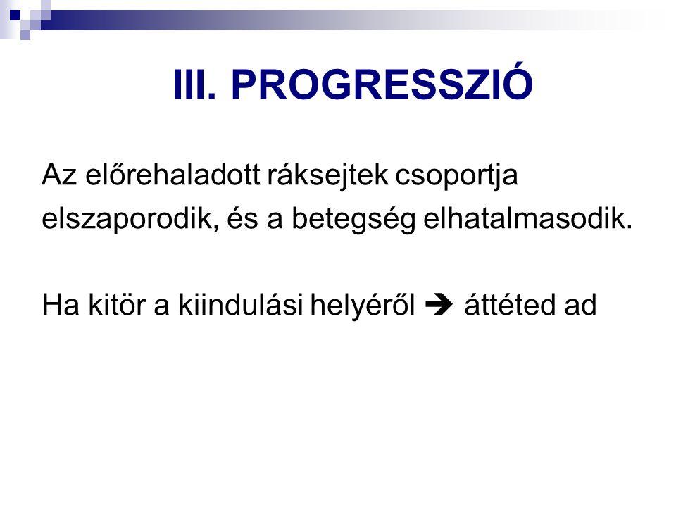 III. PROGRESSZIÓ Az előrehaladott ráksejtek csoportja